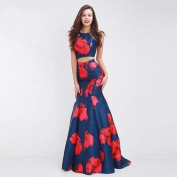 Floral Print Mermaid Two Piece Evening Dress Party Gown