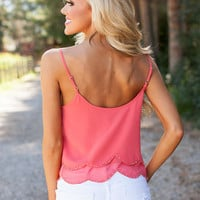 Beaded and Scalloped Tank Pink