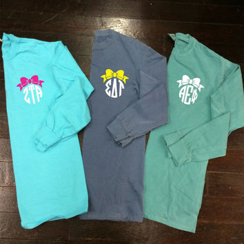 Bow Circle Sorority or Personal Monogram Comfort Colors Long Sleeve T-Shirt