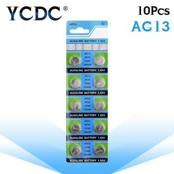 10pcs/pack AG13 LR44 357 Button Batteries R44 A76 SR1154 LR1154 Cell Coin Alkaline Battery 1.55V G13 For Watch Toys Remote
