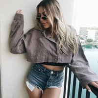 BELLA CROP JACKET- GREY