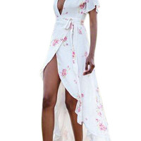 See-through V-neck Self-tie Split Maxi Dress In Random Floral Pattern from mobile - US$17.95 -YOINS