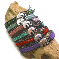 Elephant wrap bracelets - Lucky Girl - Bohemian jewelry, PICK your COLORS, leather friendship bracelets, good luck charm stackable boho chic