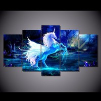 Unicorn Fantasy 5-Piece Wall Art Canvas Unicorn Art Wall Decor