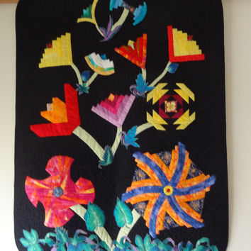 "Hand Made Patchwork Art  Quilt  Black Background, Log Cabin Flowers in a Pond, Appliqued and Machine quilted  Wall Hanging- 43"" X 33"""