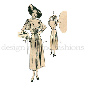 1930s Cocktail Evening Party Dress w/ Short Draped Sleeves, Pleated Waist VOGUE Special S-4827 Vintage Sewing Pattern Bust 34 UNCUT NO Envel