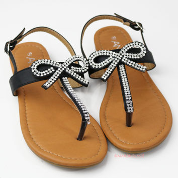 Bowing Out Black Bow Sandals