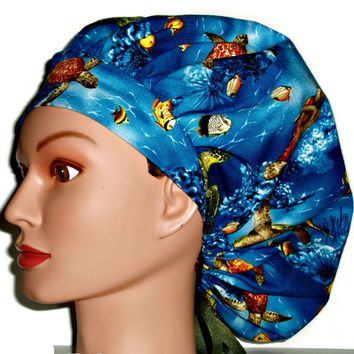 Women's Bouffant Surgical Scrub Hat Cap in Sea Turtles w/ Elastic and Cord-Lock