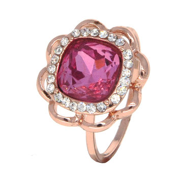 Dear Deer Rose Gold Plated Floral Red CZ Cocktail Ring