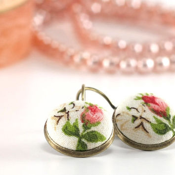 Antique Leverback Earrings - Romantic Roses - Red Pink and White Flower with Green Leaves - Shabby Chic Fabric Covered Buttons Earrings
