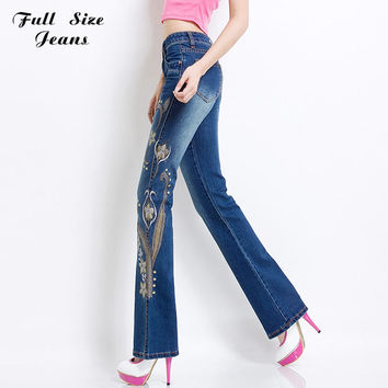 Spring Plus Size Jeans Broderie With Embroidery Sexy Women Skinny Stretch Flare Lace Pants Cotton  Denim Jean XS Xxxl 4Xl 5Xl