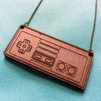 NES Controller Necklace Retro Gamer Laser Cut by misterotherone