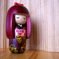 "Vintage 70's ""JAPANESE KOKESHI DOLL"" Hand Painted Cherrywood Color with Sakura Blossoms with Red Bow"