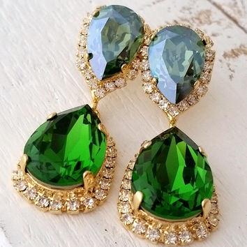 Emerald crystal earrings, green and mist green Chandelier earrings, Bridal earrings, Dangle earrings, Drop earrings, Swarovski earrings