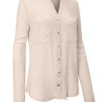 LE3NO Womens Lightweight V-Neck Collarless Button Down Shirt Blouse (CLEARANCE)