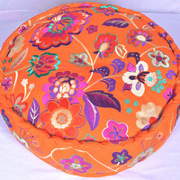 Stuffed & Filled Embroidered Indian Round Pouf Ottoman, Floor Pouffe, Round Pouf,  Bean Bag, Floor Pillow Ottoman, Indian Pouf, Yoga Pillow