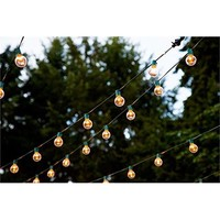 Spring Rose 50PLGC Globe Patio String Lights with a Green Cord and an End Connector to Connect Multiple Sets Each Bulb Socket Has a Clip for Easy Installation, 50 Clear Bulbs