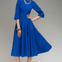 Bright Dress Woman,Cobalt Blue Dress Day ,Evening Dress Flared Skirt.