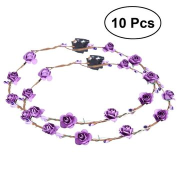 LED Flower Crown Floral Wreath Headband Glow Garland Headbands for Festival Wedding Party
