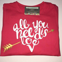 Valentines day shirt, All you need is love youth tshirt