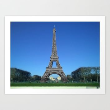 Paris Eiffel tower black and white with color Art Print by Mr Splash