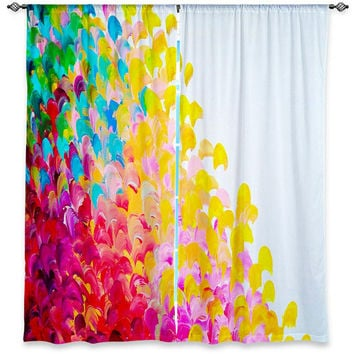 COLORFUL Fine Art Window Curtains, Multiple Sizes Abstract Rainbow Splash Ocean Waves Home Decor Bedroom Kitchen Lined Unlined Woven Fabric