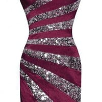 Purple Striped Sequin Strapless Bandeau Dress