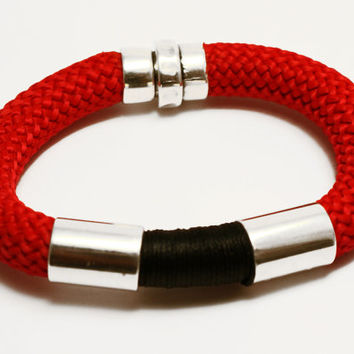 Handmade Trendy red black Climbing cord bracelet with silver plated elements and magnetic clasp, jewelry