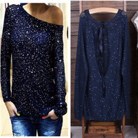 Long Sleeve Sequined with Back Keyhole Knitted Top