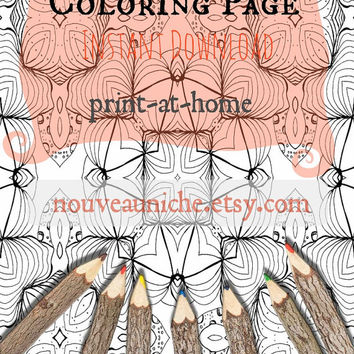 Printable Adult Coloring Page, Zentangle, Ink Drawing