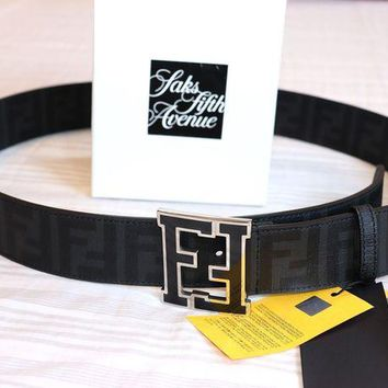 Gotopfashion NEW Authentic Fendi College Zucca FF Belt BLACK 120/48 42-44 waist