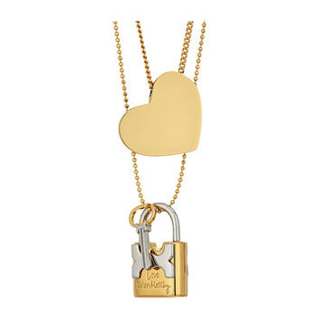 Tory Burch Metal Heart and Padlock Necklace Set Tory Gold/Tory Silver - Zappos.com Free Shipping BOTH Ways