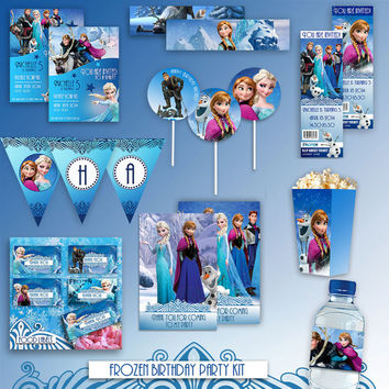 Frozen - Birthday Party Kit - Disney - High Quality 300 DPI- Customized -Party Printables