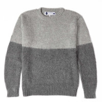 Alpaca Block Sweater - GREY/CHARCOAL
