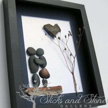 Pebble Art Couple's Gift -Couple's Engagement Gift -Unique Couple's Gift - Personalized Engagement Gift - Personalized COUPLE Gift - Wedding