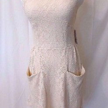Free People Women's Dress Size Small Sleeveless Stretchy Lace NWT Cutouts Beige