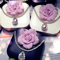 New Crystal Flower Travel Eye Contact Lens Case Care Kit Mirror Box