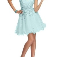 Angel Bride Short Strapless Cocktail Chiffon Holiday Party Prom Dresses with Sequins Light Blue- US Size 2