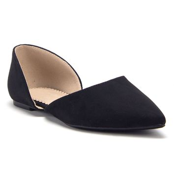 Women's Pointed Toe Slip On D'Orsay Cut Out Ballet Flats Shoes