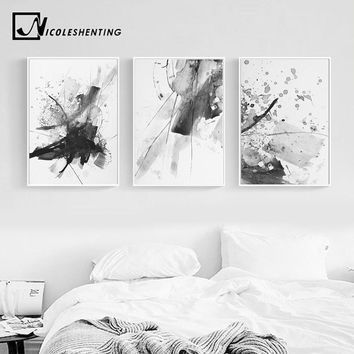 Black White Watercolor Abstract Realism Wall Art Canvas Posters and Prints Painting Wall Pictures for Living Room Home Decor