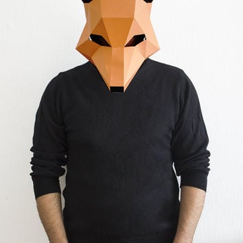 Make your own Fox Mask, Animal Head, Fantastic Mr. Fox,Instant Pdf download, DIY Halloween Paper Mask, 3D Pattern, Polygon Masks