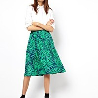 ASOS Midi Skirt in Animal Print at asos.com