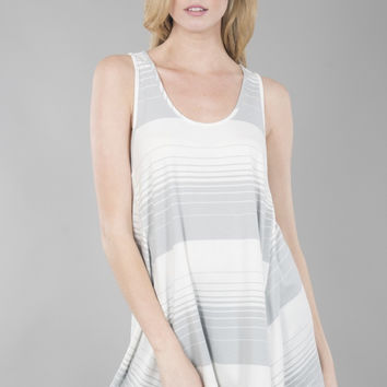 U Neck Cross Back Striped Tank Top