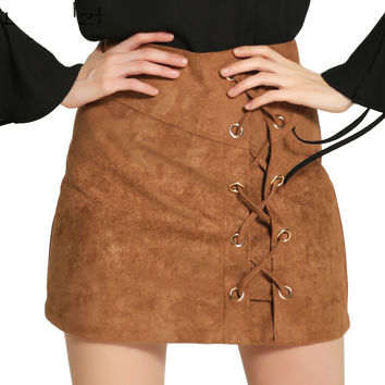 Khaki mini pencil skirts womens bottom Lace up faux leather skirt 2017 autumn winter Vintage bodycon high waist skirt