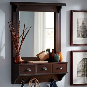Wall Mount Entryway Organizer Mirror From Pottery Barn