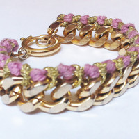 Arm Candy Purple and Gold Threaded 14k Gold Plated Chunky Chain Friendship Bracelet