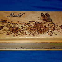 Decorative Wooden Tea Box Wood Burned Tea Chest Butterfly Tea Storage Gift
