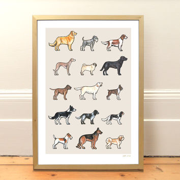 Dog Breeds Print from Original Watercolours, A3, Pet Art, Multiple Dogs, Dog Breeds Art, Pet Print, Wall Art, Dog-lover Gift, Nursery Art