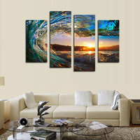 4 Panels Ocean Wave Canvas Art Painting For Home Decor