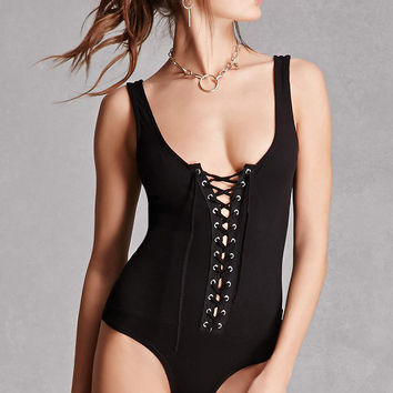 Lace-Up Grommet Bodysuit